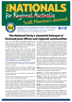 Download PDF Flyer - The National Party's shameful betrayal of licensed post offices and regional communities
