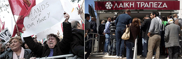 Cyprus anti-Bail-in protest and bank run