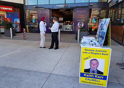 Keith Kerr - CEC Candidate for Calwell - Campaigning at Craigieburn Central