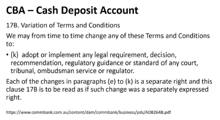 Bank terms and conditions -CBA