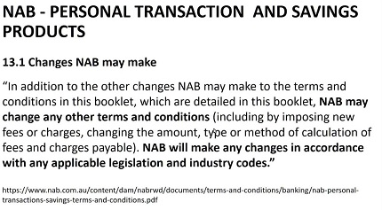 Bank terms and conditions - NAB