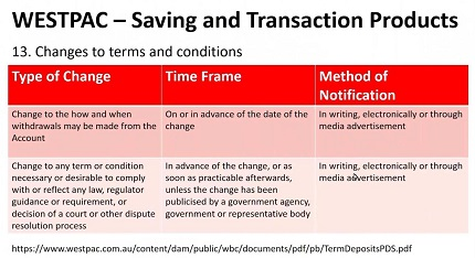 Bank terms and conditions - Westpac