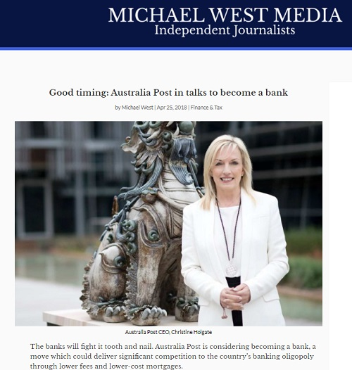 Michael West media on postal bank